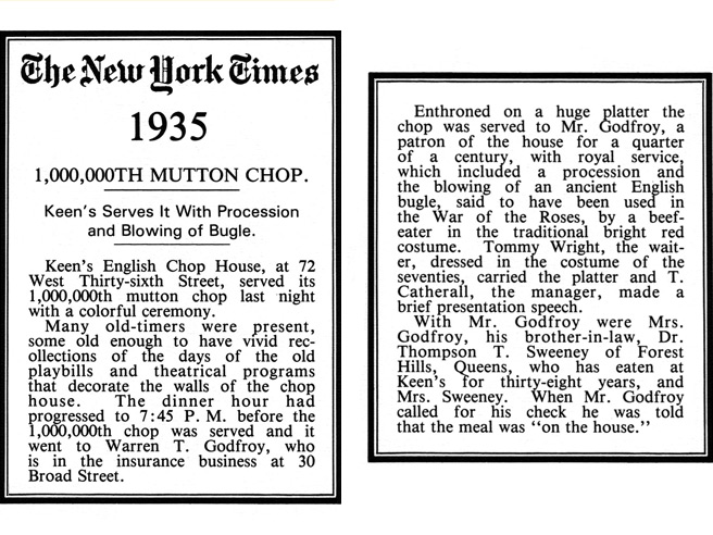"""100,000th Mutton Chop"""